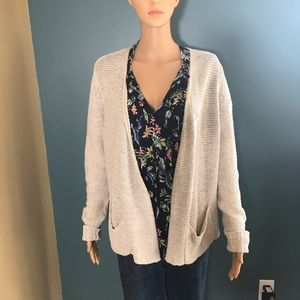 Eileen Fisher linen cotton oatmeal cardigan small